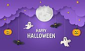 happy halloween pumpkin with ghosts and bat paper art style on purple background. vector illustration.