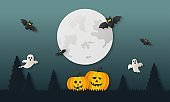 happy halloween pumpkin with ghosts and bat paper art style on midnight background. vector illustration.