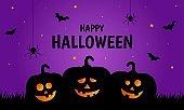 Happy halloween pumpkins on purple background. vector illustration.