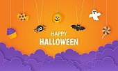 happy halloween party with candy and pumpkin paper art style on orange background. vector illustration.