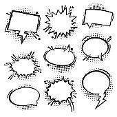Speech or thought bubbles. Retro empty comic speech bubbles . Vector icon