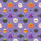 Halloween seamless pattern with funny spooky on purple background. vector Illustration.
