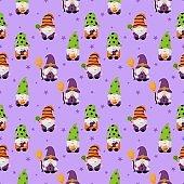 happy halloween gnomes cartoon character seamless pattern isolated on purple background. vector illustration.