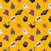 happy halloween seamless pattern on yellow background. vector illustration.