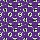 Halloween seamless pattern with skull and bone isolated on purple background. vector Illustration.