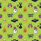 Halloween seamless pattern with funny spooky on green background. vector Illustration.