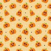 seamless pattern cartoon happy halloween pumpkin and stars isolated on orange background. vector illustration.
