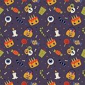 seamless pattern with cartoon halloween on purple background. vector Illustration.