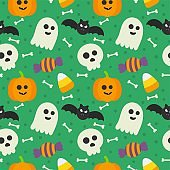 seamless pattern happy halloween icons isolated on green background. vector Illustration.