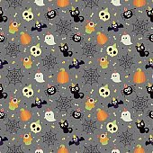 seamless halloween party patterns on gray background. vector illustration.