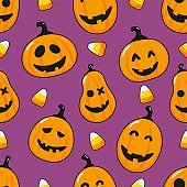seamless pattern cartoon happy halloween pumpkin and candy corn isolated on purple background. vector Illustration.