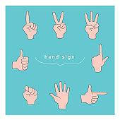 Hand sign illustration material set