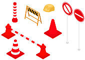 Construction site guidance icon set, isometric