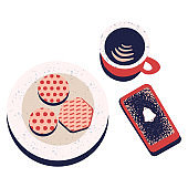 Set of objects phone, plate with cookies and cup of coffee.