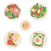 Delicious and fresh dishes set, salads and sandwiches