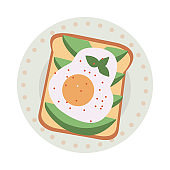 Delicious and fresh sandwiches with eggs and salmon fish