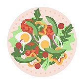 Delicious and fresh dish with salads and eggs