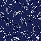Seamless pattern with food on dark blue background.