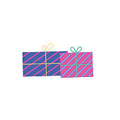 Gift box vector cartoon icon. Vector illustration