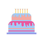 Birthday cake vector cartoon icon. Vector illustration