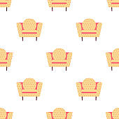 Seamless pattern with stylish armchairs. Scandinavian furniture vector background.