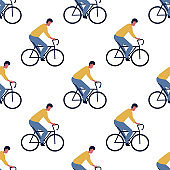 Seamless pattern with men driver on bicycles. flat cartoon Vector illustration