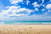 Nature landscape with blue sky and white clouds tropical beach in sunny day.