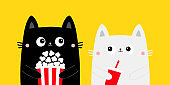 Cat set. Popcorn, fsoda glass. Cute cartoon funny character. Black White kitty. Cinema theater. Film show. Kittens watching movie. Kids print for notebook cover. Yellow background. Flat design