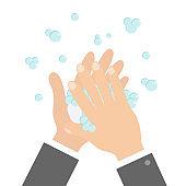 Wash hands with soap soap foam bubble. Cute cartoon businessman hand body part. Stop coronavirus COVID 19. Personal hygiene, disease preventio. Flat design. Isolated White background