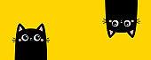 Two black kitten face head. Cat set line banner. Hanging upside down. Funny Cute kawaii cartoon baby character. Notebook sticker print template. Happy Halloween. Flat design. Yellow background