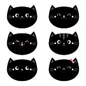 Cute black cat head face set. Funny cartoon kawaii characters. Emotion collection. Happy, surprised, sad, angry cats. Notebook cover, tshirt. Greeting card template. White background. Flat design.