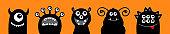 Monster icon set line. Happy Halloween. Cute cartoon kawaii baby character. Funny face head black silhouette. Eyes teeth fang tongue. Flat design. Orange background.