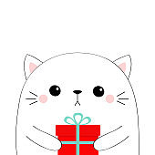 Cute cat holding gift box. Kawaii animal. Contour silhouette. Scandinavian style. Cute cartoon kitten character. Funny baby sad kitty. Happy Valentines Day. Love card. Flat design. White background.