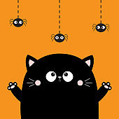 Happy Halloween. Cute cat face looking at hanging spider. Boo. Cartoon character. Kawaii baby animal. Notebook cover, tshirt, greeting card, sticker print. Flat design. Orange background.