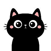 Cute cat. Black kitten face head silhouette. Funny kawaii cartoon baby character. Happy Halloween. Notebook sticker print template. Flat design. White background. Isolated.