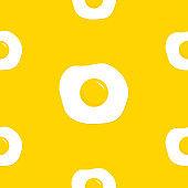 Fried scrambled egg icon. Seamless pattern. Top view closeup. Breakfast menu. Cute cartoon food. Flat design. Yellow background. Isolated.