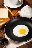 Breakfast with fried egg in the frying pan.