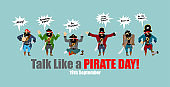 International Talk Like A Pirate Day. pirate talk and words. Holiday vector illustration