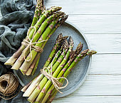 Bunch of raw asparagus stems