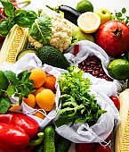 A variety of organic fruits and vegetables