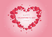 Happy valentine's day vector greetings card design with paper hearts. Design for banners, flyers, postcards.