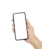 Man hand holding smartphone isolated on white background. Use the touch screen finger smartphone.