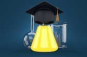 Chemistry flasks with mortarboard
