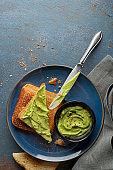 Avocado spread on toasted bread