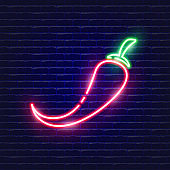 Spicy pepper neon icon. Glowing Vector illustration icon for mobile, web and menu design. Food concept