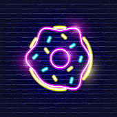 Donut neon icon. Glowing Vector illustration icon for mobile, web and menu design. Sweet concept