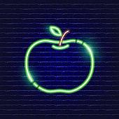Apple neon icon. Glowing Vector illustration icon for mobile, web and menu design. Food concept