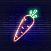 Carrot neon icon. Glowing Vector illustration icon for mobile, web and menu design. Food concept