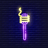 Spaghetti fork neon icon. Glowing Vector illustration icon for mobile, web and menu design. Food concept