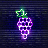 Grapes neon icon. Glowing Vector illustration icon for mobile, web and menu design. Food concept